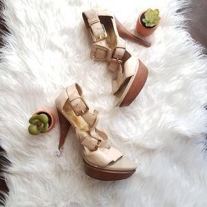Michael Michael kors leather sandals heels sz 9.5